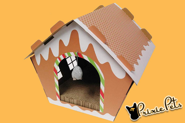 Gingerbread House Cat Scratch Box by Midlee